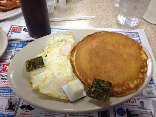 Jimmy's Restaurant: Two pancakes two eggs over easy & coffee with lots of butter & a bottle of syrup