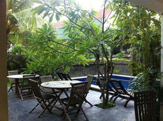 Grand Bimasena Hostel: view of ground floor with mini pool