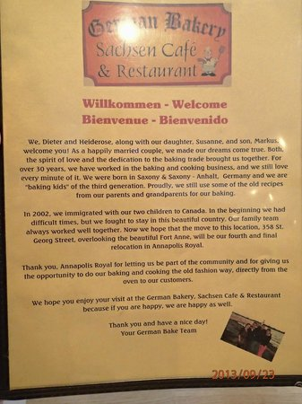 German Bakery Sachsen Cafe & Restaurant: Family History