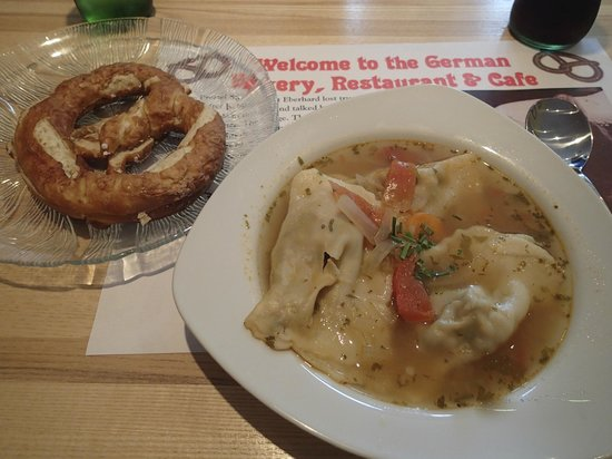 German Bakery Sachsen Cafe & Restaurant: Homemade delicious soup & German pretzel