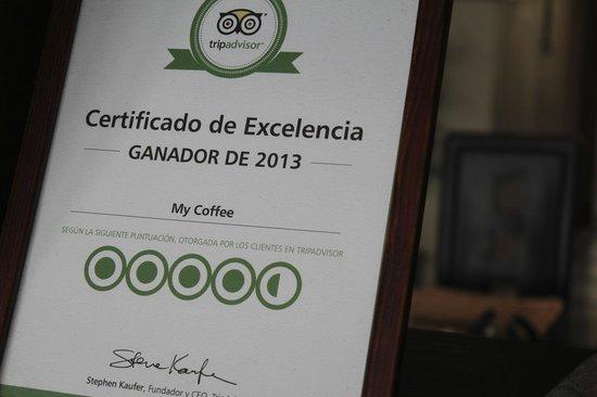 My Coffee Lounge & Restaurante: Travel Advisor display in store