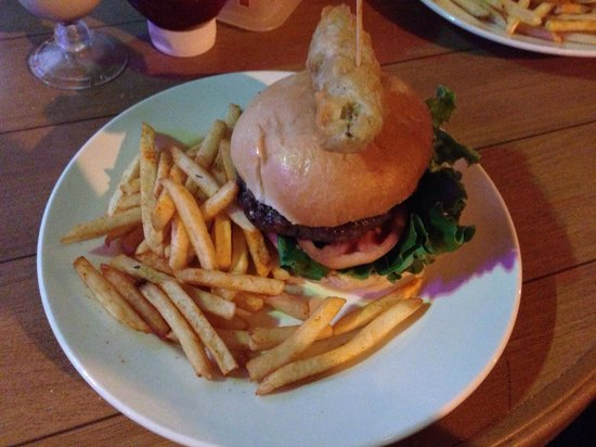 Coconut Joe's Beach Bar & Grill: Burger topped with a deep-fried pickle = amazing!