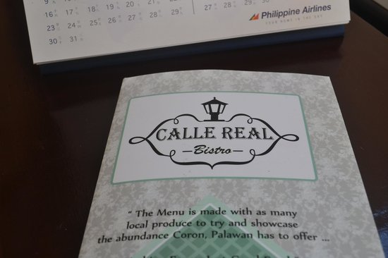 Calle Real Bistro: The Menu Folder