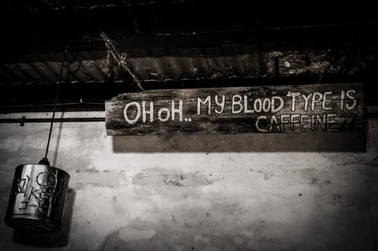 Calanthe Art Cafe : This place has lots of coffee choices .. the sign says it all