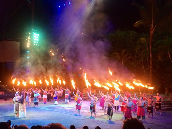 Polynesian Cultural Center: After the show. There's more fire at the end than during the show. Don't be deceived.