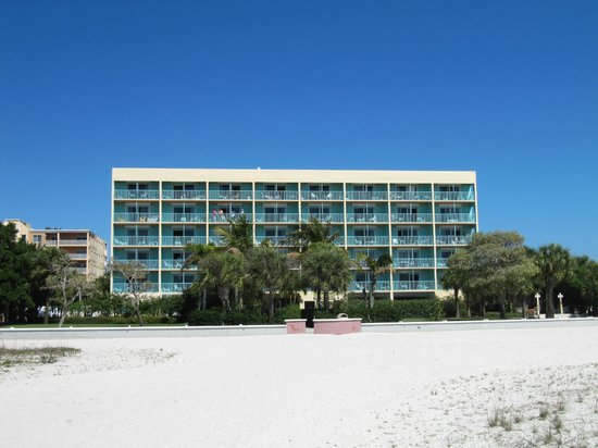 South Beach Condo/Hotel: View from beach. Room 205 behind trees.