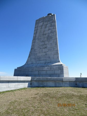 The Monument to a Century of Flight: photo of the monument on top of a hill you can walk up