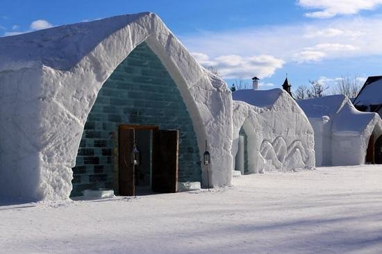 In front of the Hotel de Glace