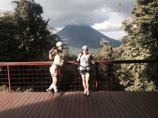 """Sky Adventures - Monteverde Park : Getting ready to do our """"zip"""" test! First one :-)"""