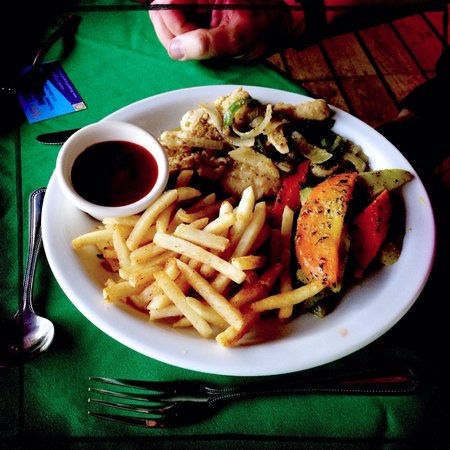 The Sunset Grill: Pork chops with fries.