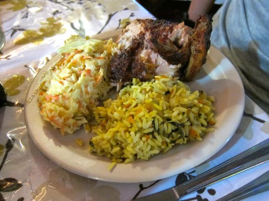 Creole's Rotisserie Chicken: Roast Chicken with Coleslaw and Rice