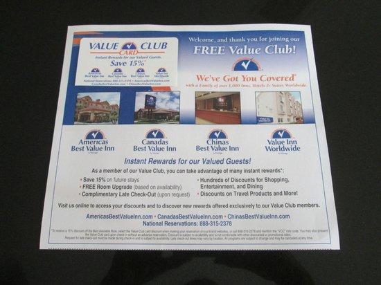 Americas Best Value Inn - Rockingham: FREE Value Club Discount Card