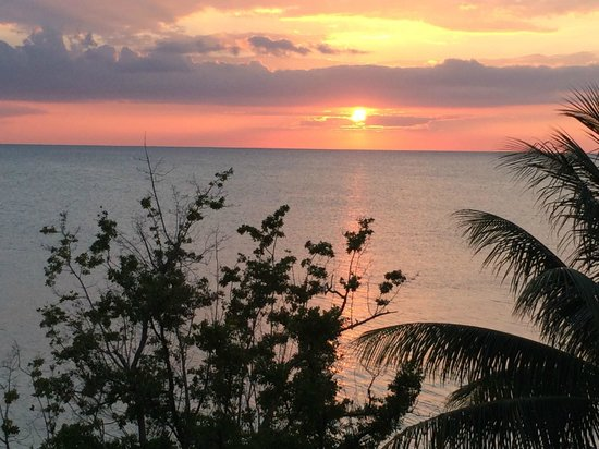 Sandals South Coast : sunset from our balcony in the Beachfront Penthouse Club level suite in the Dutch Village