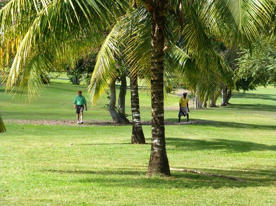 Sandals Golf & Country Club: Walking with our caddie, Bryan