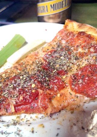 Pizanos Pizza: Pizza with sprinkles...I love the sprinkles.