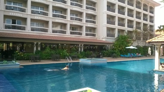 Hotel Somadevi Angkor Resort & Spa: View of the hotel from the pool side.