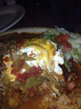 Grill Bar & Cafe: Stuffed Sopapilla with shredded beef and red and green chili