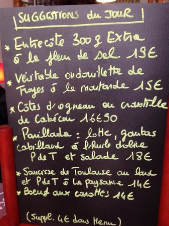 Restaurant de la Tour : suggestions du jour