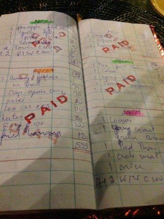 Tonsai Restaurant: Das Büchlein mit der Rechnung