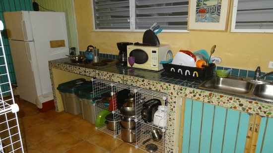 Casa Resaca: Kitchen area with stove and fridge