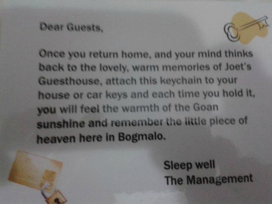 Joet's Guest House: An example of the thoughtfulness of the management - thank you!