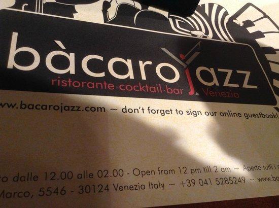 Bacaro Jazz Ristorante : Place mat