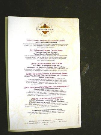 Kendall-Jackson Winery: Food and wine pairings