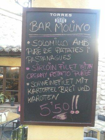 Bar Molino: Menú