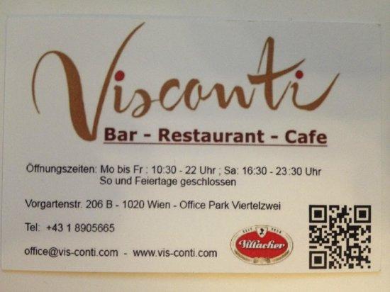 Visconti: Visitenkarte mit Anschrift