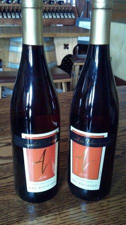 Anyela's Vineyards: Bottles of Dry Riesling.