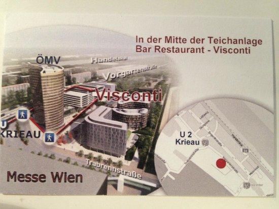 Visconti: Visitenkarte mit Lageplan und Wegbeschreibung