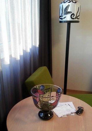 Kosta Boda Art Hotel: lamps and decor are all Kosta Boda glass