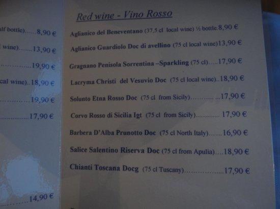 Hotel Olimpico: Wines