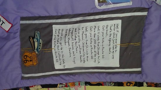 National Route 66 Museum: Bobby Troop's song that I cross-stitched on my quilt
