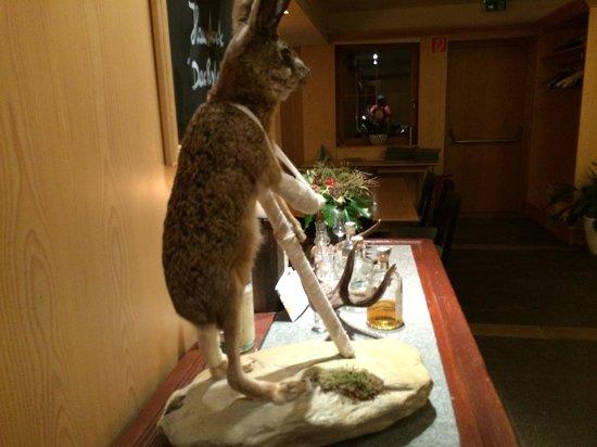 Zając - narciarz. Sala restauracji Kulmwirt.