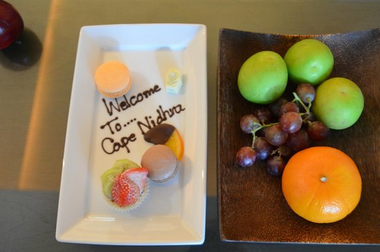 Cape Nidhra: Willkommensgruß im Zimmer