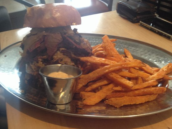 TheSmoke: Cow Meats Pig burger, with sweet potato fries