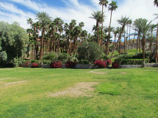Furnace Creek Inn and Ranch Resort: oasis area with palms, ponds, benches