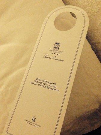 Santa Caterina Hotel: Room Service