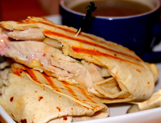 Harvest Cafe : What I Ordered: Chicken & Brie Wrap With A Cup of Mushroom Soup