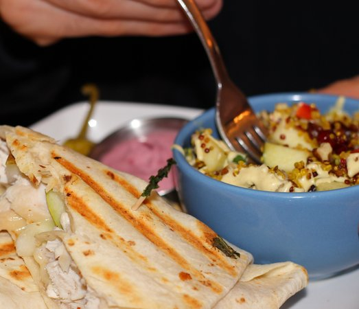 Harvest Cafe : What William Ordered: Chicken & Brie Wrap With Quinoa Salad