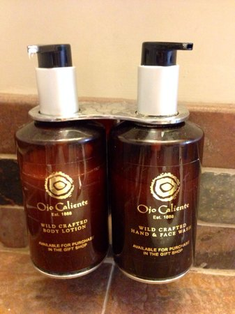 Ojo Caliente Mineral Springs Resort and Spa: Face wash and body lotion in the pueblo suite they smell great.