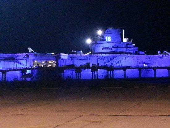 uss lexington at night. beautiful!