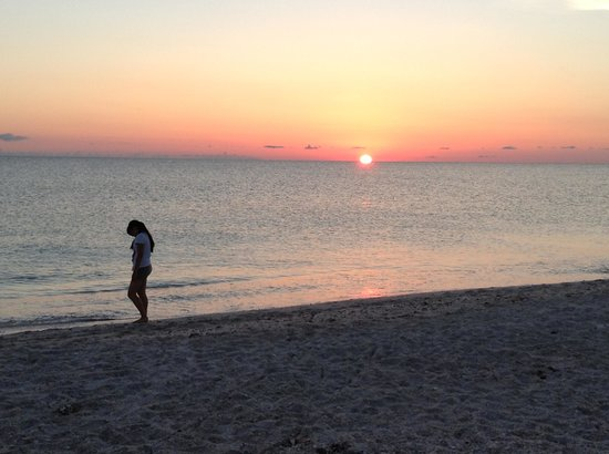 A Beach Retreat: My daughter strolling the beach in front of our unit.  What a backdrop!!!