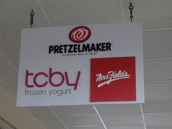 TCBY Mrs. Fields Pretzelmaker : TCBY sign in Waterloo Outlet Center