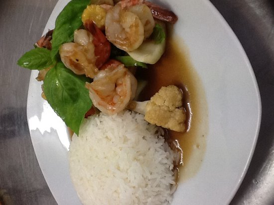Menu Thai Restaurant : stir fried prawns with rice