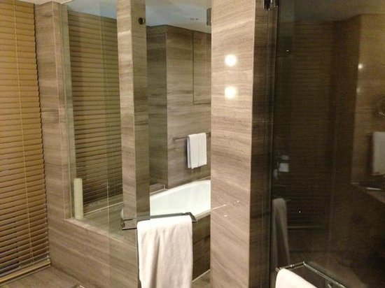 InterContinental Shanghai Puxi: Bathroom, area for bath in wetroom with shower, seperate toilet and seperate sink area