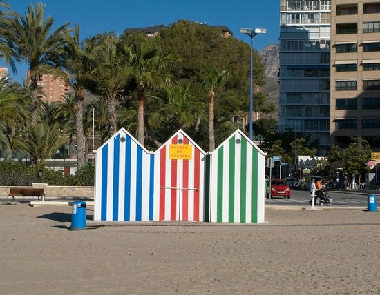Changing booths on Poniente beach