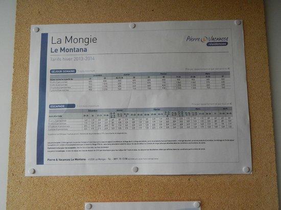Apartamentos Pierre & Vacances e Montana: tarifs 2014
