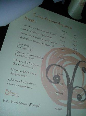 L'Orange Tree: Carte des vins